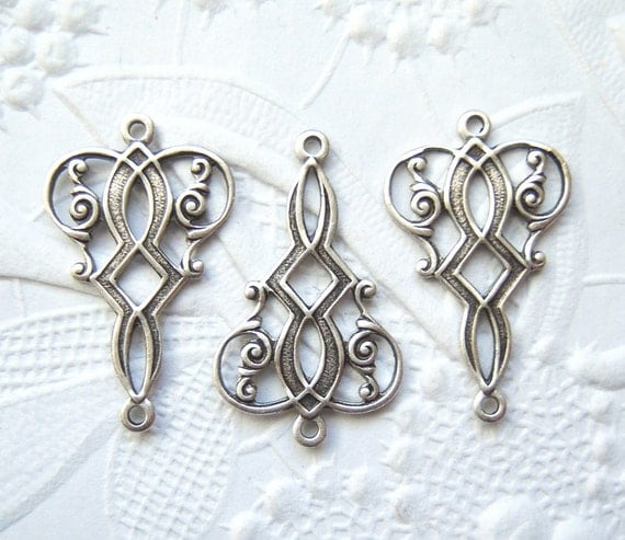 4 - Antiqued silver plated Art Deco connector drops - DR132