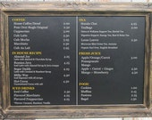 "LARGE RESTAURANT CHALKBOARDS For Sale - Coffee House Menu Board Huge Extra Large Black Gold Decor - 44""x32"" -Rustic Blackboard Menu Board"