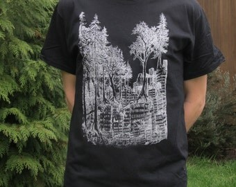 Forest Wins Shirt, Extra Large XL -  White on Black - forest nature earth first anarchy rewild line art drawing punk tshirt metal
