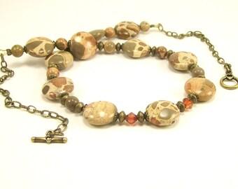 Gemstone Jewelry Necklace, Safari Jasper Swarovski Rustic Beaded Earth Tone Necklace, Affordable Fun Jewelry, Handmade Gemstone Jewelry