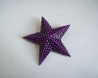 Vintage metal starfish brooch black and purple 1980s free shipping to USA