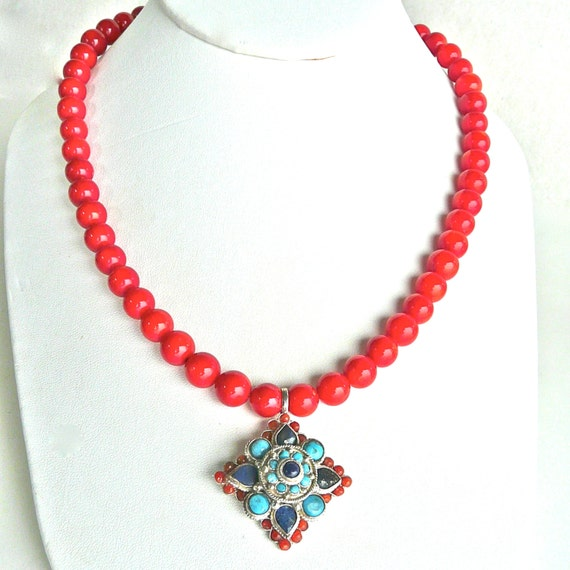 C3491E Indian Coral, Turquoise, Lapis Necklace SALE