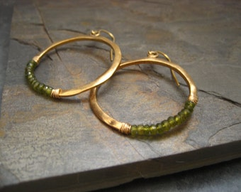 Crescent hoop earrings with olive green idocrase - vermeil
