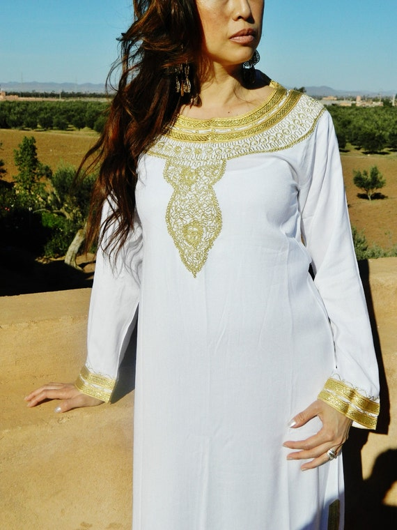 White Moroccan Caftan Dress (Long) - Melika Style-perfect for birthday gifts for her, honeymoon gifts, loungewear, resortwear, beachwear