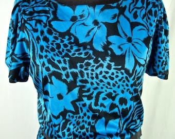Vintage Dress 80's Black and Turquoise Tropical Leopard Floral Print Disco Draped Faux Wrap size Medium