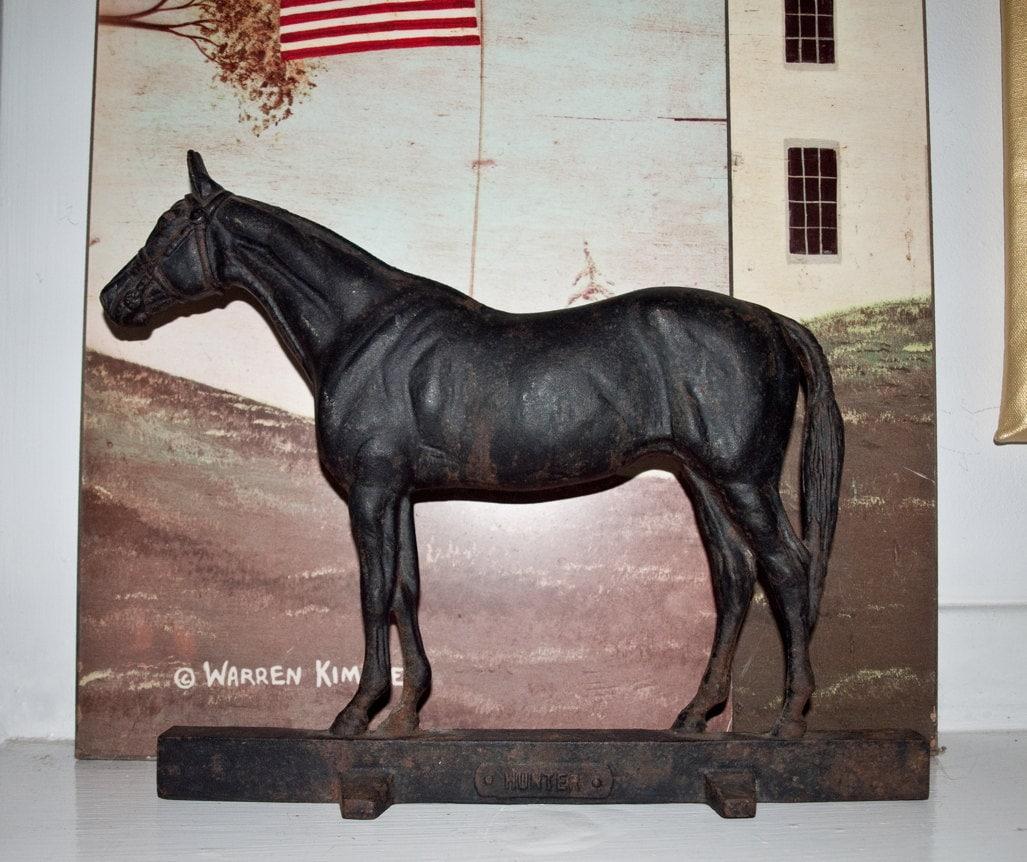 Antique Cast Iron Race Horse Doorstop 1949