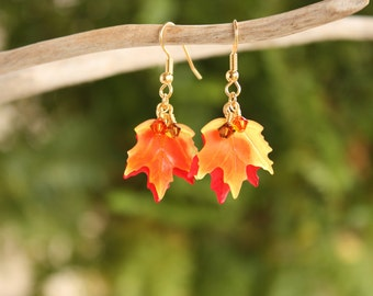 Fall Leaf Earrings, Maple Leaf Earrings Autumn Earrings Fall Earrings Maple Leaf Jewelry Autumn Leaf Jewelry Fall Jewelry Autumn Jewelry 001