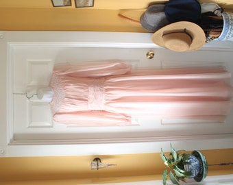 Prom Dress, Pink Pink, Bridesmaid Gown, Long Chiffon Vintage 1950s Pastel Wedding Party Frock