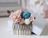 Flowers Collage Hair Comb. Dusky Pink Blue Ivory Rose Flowers, Floral Collage Comb. Wedding Hair Comb, Bridesmaids Gift
