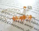 SALE Delicate Sunstone Bracelet - Sterling Silver / Minimalist Dainty Autumn Fall Jewelry, Earthy Orange Schiller, Linear Stone Bar