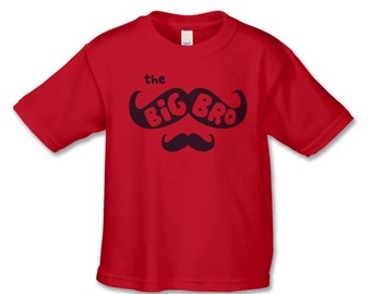 Big Brother Shirt -The Mustache Big Brother T-Shirt  - Create Your Own Matching Sibling Shirts - Baby Announcement -Big Brother to Be