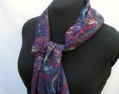 Paisley Chiffon Scarf, Navy and Royal Colors, Seasonless, Easy Care