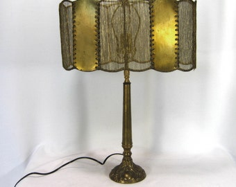 Lamp Shade Handmade Custom Scallop Oval Gold Crinkle Silk Brass Inserts Repurposed For Table Lamp