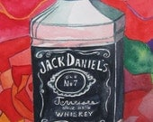Jack Daniel's Original Painting, Red roses, Original Watercolor by Shannon Olson
