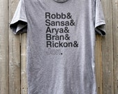 Game of Thrones // Stark Siblings // Unisex Tri-Blend Tee Shirt // Robb & Sansa and Arya and Bran and Rickon and Jon