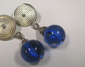 Vintage Cobalt Blue Bead Silver Plated Pierced Earrings, Big & Bold Blue Earrings