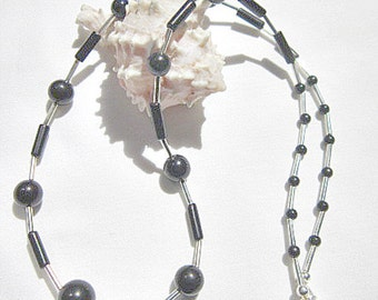 Black Stone Bead Necklace with Silver Beads, Onyx Bead Necklace, Black Necklace  ID 291