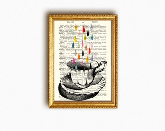 TEACUP RAIN vintage book print - my original artwork of a vintage teacup drawing on upcycled vintage book page - archival digital print