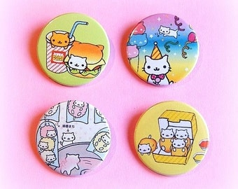 Nyan Nyanko cat button badge or magnet 1.5 Inch