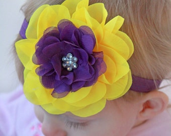 Bright Yellow & Deep Purple Pansy Headband - Baby Girl Pansy Flower Headband - Girl's Bold Pansy Blossom Hair Bow