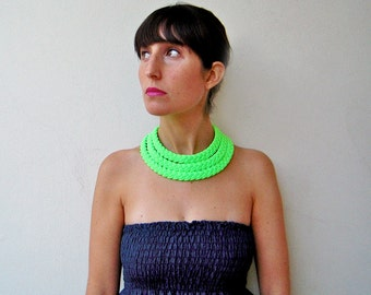 The triple braid necklace - handmade in neon green fabric
