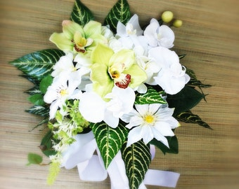 Elegant Tropic Silk Wedding Bouquet with White & Green Orchids, Clematis, Plumeria Frangipani and Tropical Foliage