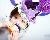Baby Girl First Birthday Hat Purple Birthday Hat Toddler Hat Child Hair Accessory Crochet Birthday Hat Knit Birthday Hat
