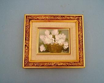 1950s Painting of a Vase Basket of White Flowers Original Art Still Life