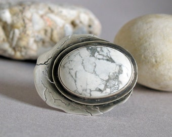 Handmade Big Cocktail Ring, Statement Silver Ring size 7, Howlite Ring, Bohemian Sterling Ring