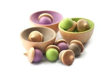 Sorting Bowls and Acorns Toy - Waldorf Montessori Color Matching - Natural - Organic - African Violet - Tender Shoots
