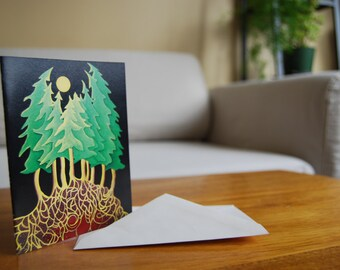 Evergreen Forest Art Card from Original Northwest Tree Painting by Jodi Mayne- 'Evergreen Grove'
