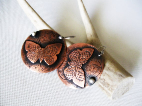 Butterfly Copper Earrings Rustic Animal Dangles Recycled Sterling Silver Filigree Statement Stamp Patterned Big Disk Metalsmith Metalwork