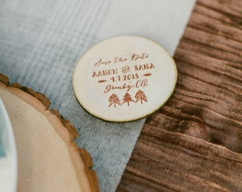 Woodland Rubber Stamp, Save the Date Stamp, Wood Slice Stamp, Wedding Favor Rubber Stamp, Wedding Invitation Stamp