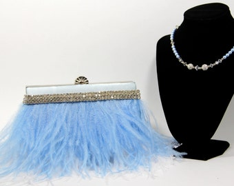 Evening Bag - Something Blue Bridal Clutch and Necklace - Baby Blue Ostrich Feather Evening Purse w/Crystal Pearl Handle/Necklace