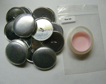 "100 Aluminum Wire Loop Self Cover Buttons Size 60 (1 1/2"")"