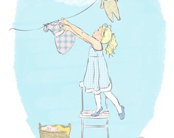 "Girls Room Art - Nursery Art Print - Nursery Decor - ""Washing line""  (8x12 inches)"