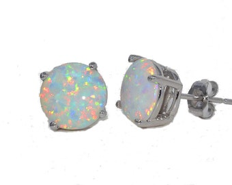 14Kt White Gold Opal Round Stud Earrings