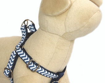 Chevron dog harness Denim blue step in dog harness for girl and boy small large dog  Personalized engrave ID buckle can be added