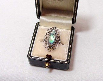 SALE! Vintage Sterling Lady's Abalone Ring - Sz. 4 1/2