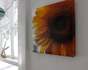 Canvas, sunflower with bee, fine art photography, wall decor, summer