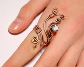 copper ring, copper wire with white crystal stone ring, copper jewelry , wire wrapped jewelry handmade