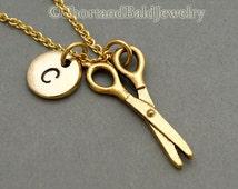 Scissors necklace, scissors charm, hairdresser, gold scissors, hair stylist necklace, initial necklace, hand stamped, personalized, monogram