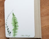 Fern and Flower Stationary Note Card Set, Personalized Stationery, Botanical Cards