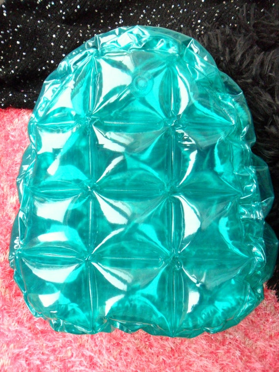 Green Turquoise 90s Club Kid See Through Clear Plastic Blow Up