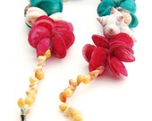 Vintage Puka Shell Necklace - Red, Green/Blue, Beach, Sand, Shells, Clam, Ocean, Sea, Summer, Spring, Mother's Day - OOAK