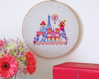 Pretty Little Paris - Satsuma Street Modern Cross stitch pattern PDF - Instant download