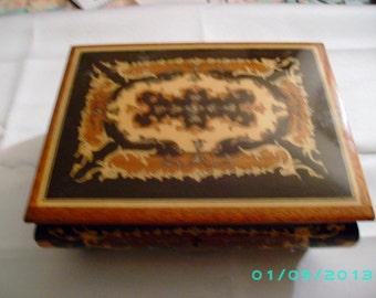Sorrento Burl Inlay Musical Jewelry Box