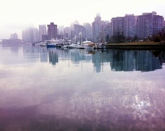 Vancouver BC photograph, Coal Harbour, Stanley Park seawall, Vancouver BC skyline, purple white, wall decor, Misty Mauve, 8x12 photo
