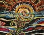 Original Art. Title: Sunsea. Mixed media. Repurposed. Denim as Canvas. Eco Collage. Mystical Sun. Surreal Sea. Visionary Eco Art. Pop Art.