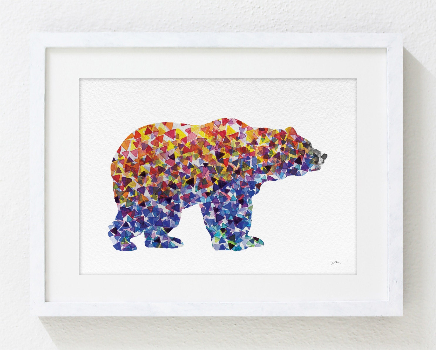 blue bear art watercolor painting 5x7 archival print